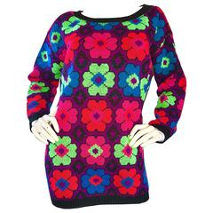 1980s Betsey Johnson Punk Label One Size Intarsia Flower Sweater Jumper 80s