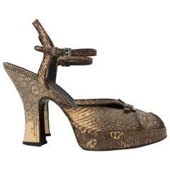 90s Prada Ringtail Lizard Platform Heels