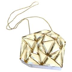 Sold Out GENNY Gold + White Plexiglass Geometric Crystal Bag Minaudiere Clutch