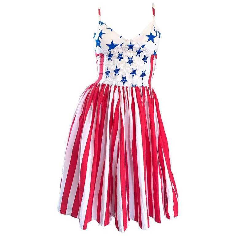 Documented Vintage Boy London 1980s American Flag Hand Painted Cotton 80s Dress For Sale