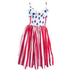 Rare Vintage Boy London 1980s American Flag Hand Painted Cotton 80s Dress