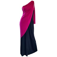 Bill Blass Vintage Raspberry Pink + Black Color Block Grecian One Shoulder Gown