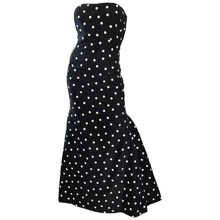 Vintage Oscar De La Renta Black And White Polka Dot Strapless