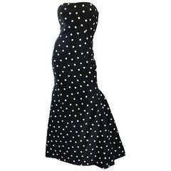 Vintage Oscar de la Renta Black and White Polka Dot Strapless Mermaid Gown Dress