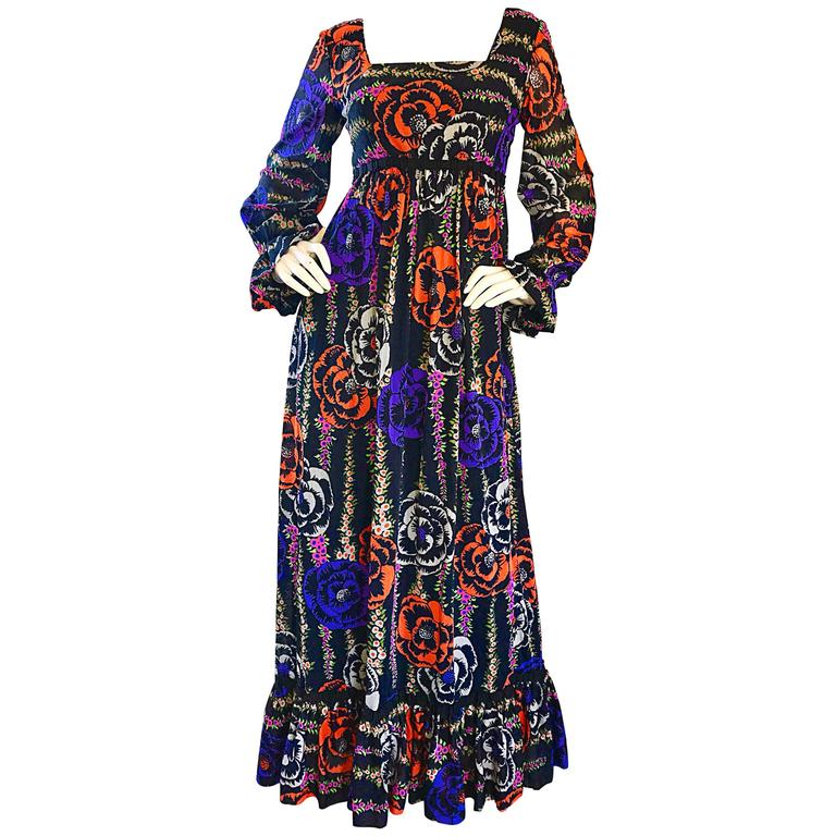 4c433231f 1970s Lilly Pulitzer ' The Lilly ' Black Colorful Vintage 70s Boho Maxi  Dress ...