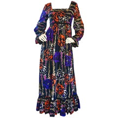 1970s Lilly Pulitzer ' The Lilly ' Black Colorful Vintage 70s Boho Maxi Dress