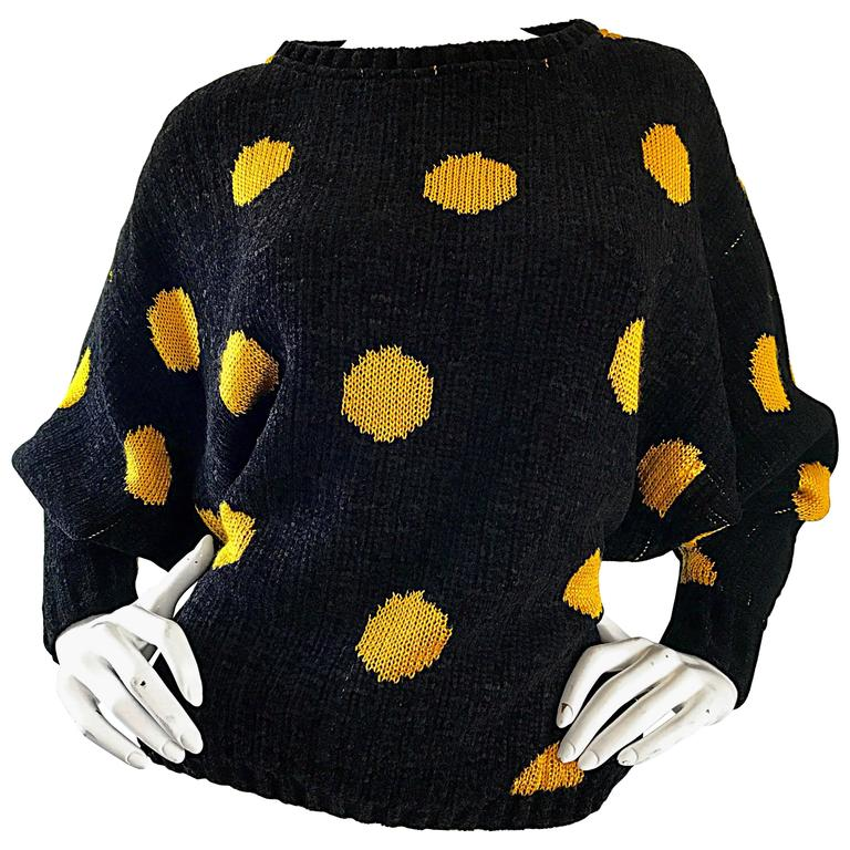 Rare Vintage Gianni Versace Early 1980s Intarsia Black Yellow Polka Dot Sweater For Sale