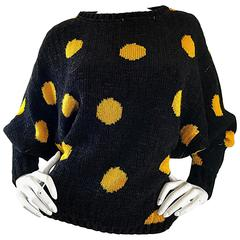 Rare Vintage Gianni Versace Early 1980s Intarsia Black Yellow Polka Dot Sweater