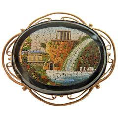 1900s Century Italian Brooch Onix Blanck and Gold Micromosaic
