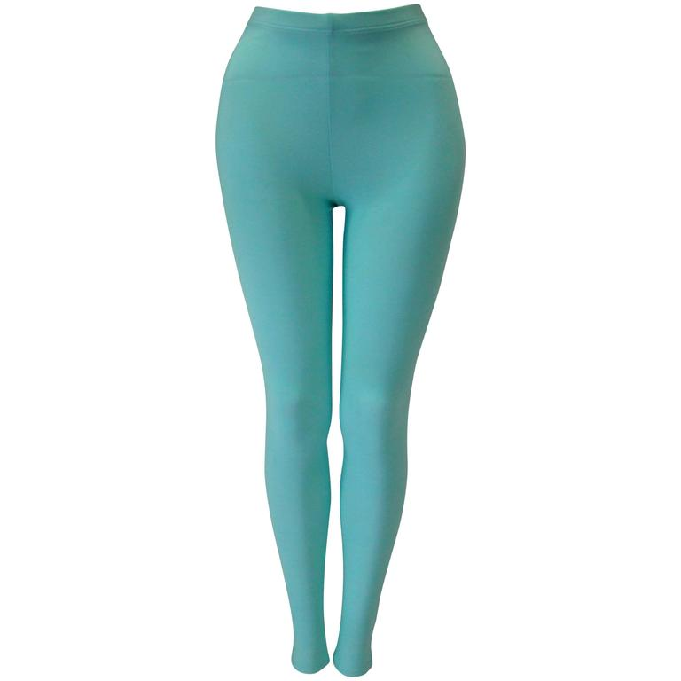 Gianni Versace Couture Turquoise Stretch Leggings 1