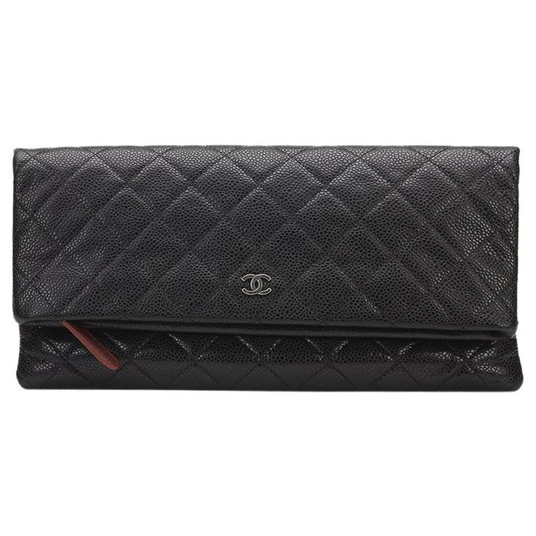 f1566413d126 2010s Chanel Black Quilted Caviar Leather Beauty CC Foldover Clutch For Sale