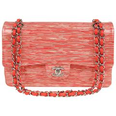 Chanel Red and Cream Striped Patent Leather Classic Flap- Medium