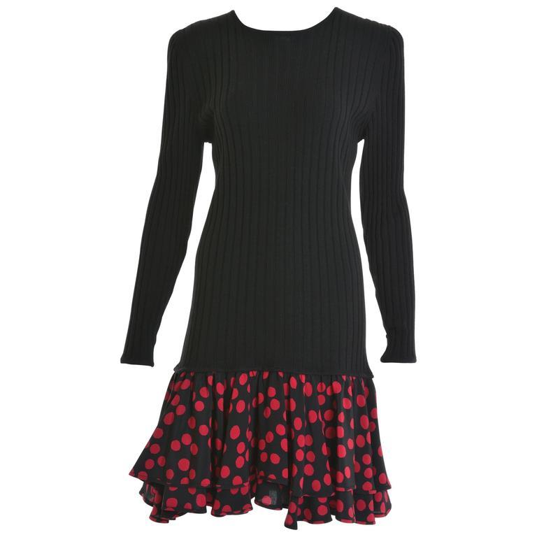 1980s UNGARO Black Knitted Wool and Magenta Polka Dots Dress