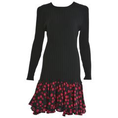 1980s UNGARO Black Knitted Wool and Magenta Polka Dots Dress
