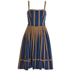 1950s Striped Cotton Spaghetti Strap Circle Skirt Dress