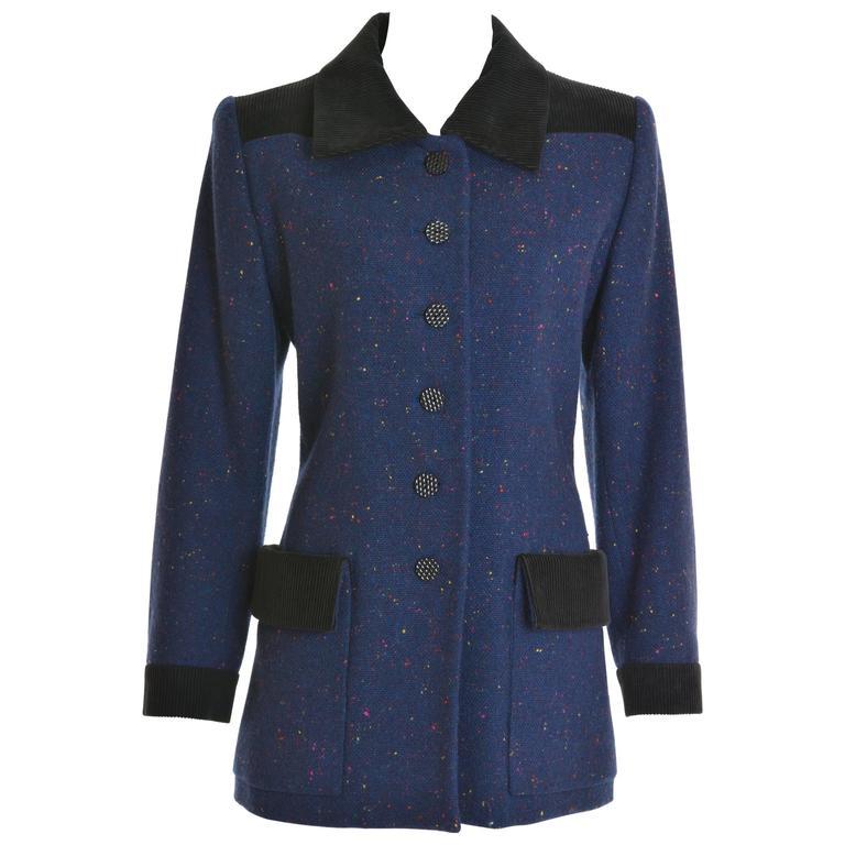 1980s YVES SAINT LAURENT Rive Gauche Blue Purple Wool Jacket
