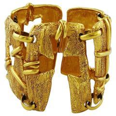 Christian Lacroix Vintage Gold Toned Cut Out Cuff Bracelet
