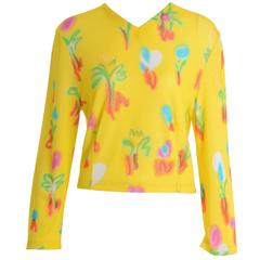 1990s GIANNI VERSACE Couture Printed Blouse Shirt