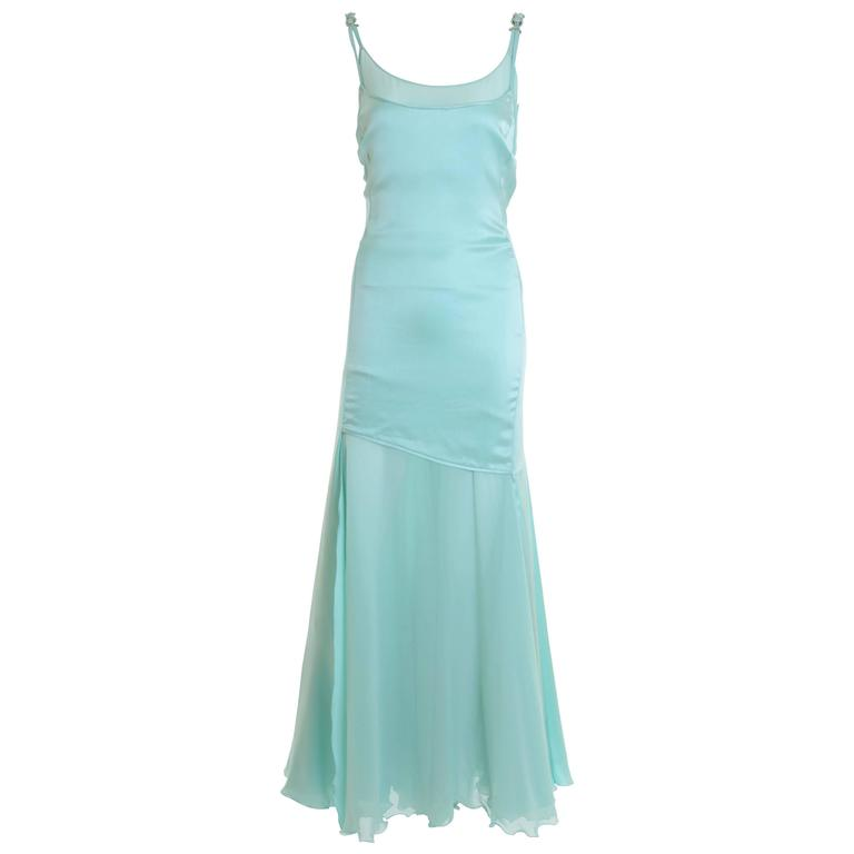 1990s GIANNI VERSACE Couture Mint Green Silk Long Dress 1