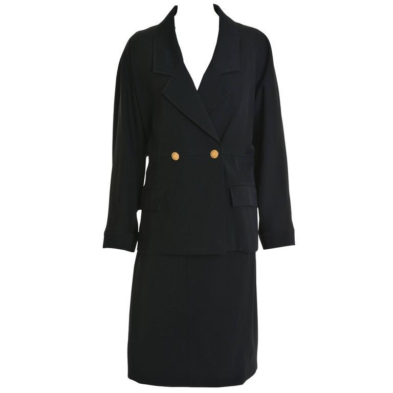 1990s CHANEL Black Gabardine Suit Dress