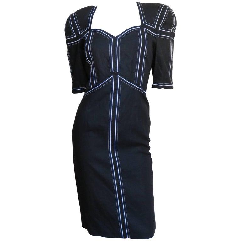 1980s Louis Feraud Geometric Linen Dress