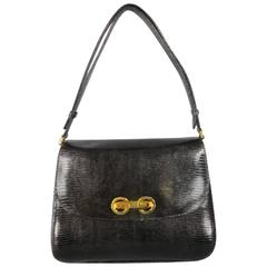 Vintage GUCCI Black Lizard Skin Leather Gold G Handbag