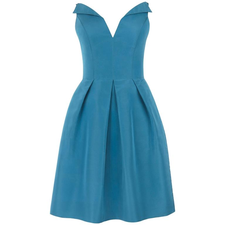 OSCAR DE LA RENTA Resort 2008 Teal 100% Silk Sleeveless Pleated Cocktail Dress