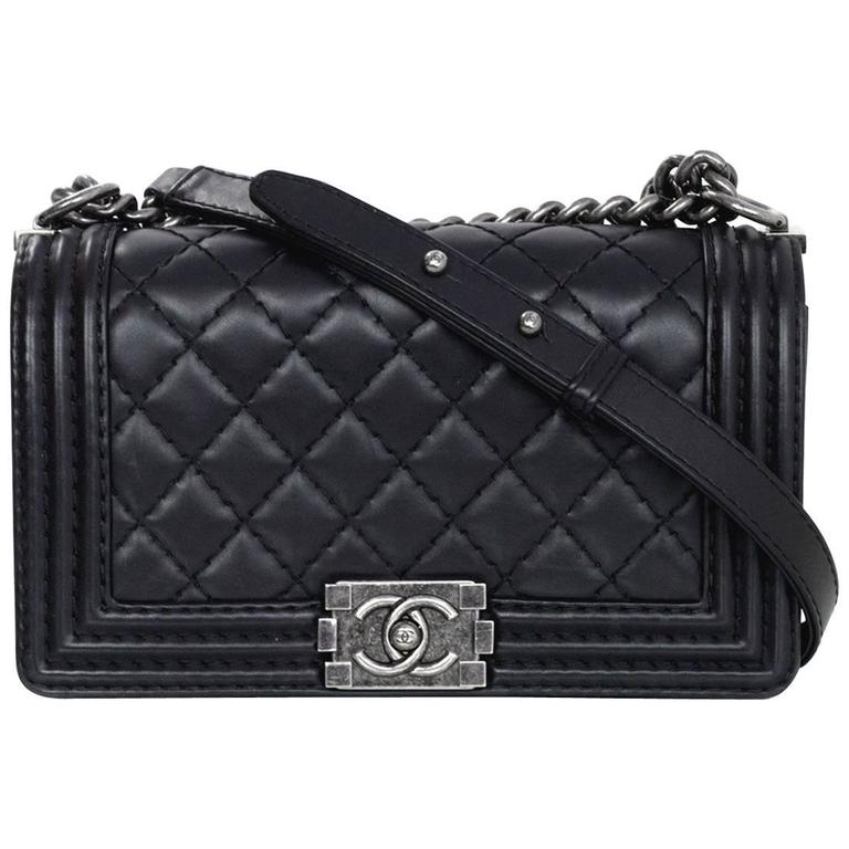 bb3cb76a98e15 Chanel Black Calfskin Leather Quilted Old Medium Boy Flap Bag For Sale