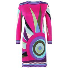 EMILIO PUCCI c.1970's Magenta Multicolor Sunburst Signature Print Shift Dress