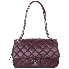 Chanel Burgundy Quilted Distressed Leather Quilted Flap Bag w/ Tweed Trim