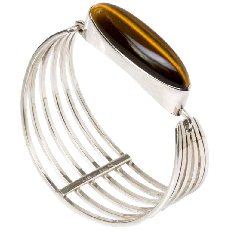 Scandinavian Modern Silver and tigers eye bracelet Noblelle Denmark 1970 For Sale