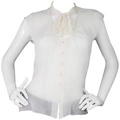 Chanel Ivory Silk Sheer Blouse