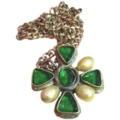 CHANEL 60s Green Gripoix and Pearl Iron Cross Pendant Necklace