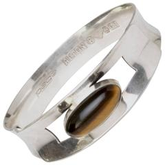 "Scandinavian Modern Silver bracelet ""Pege"" with Tigers Eye, Alton, Sweden 1966"
