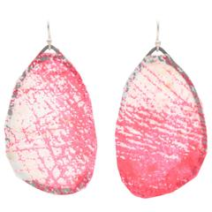Sterling Silver Hot Pink and Cream Screen Printed Paper Earrings Large