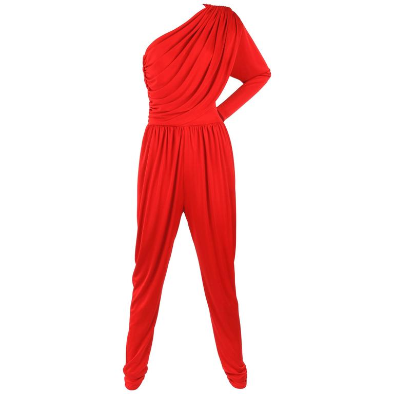 HALSTON c.1970's Red Spandex One Shoulder Draped Jumpsuit