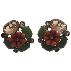 IRADJ MOINI Clip Back Earrings Coral Jade and Stonework