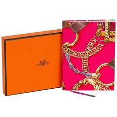 Hermès Pink Chain Silk Notebook