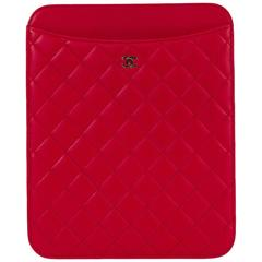 New in Box Chanel Red Ipad Quilted Red Leather Case
