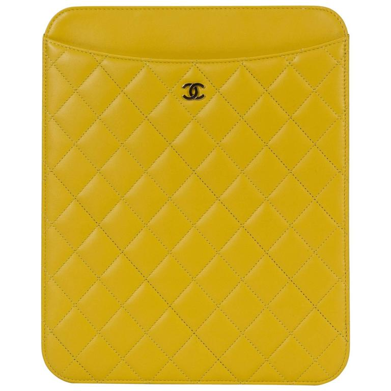 a91ae827b703 New in Box Chanel Yellow Quilted Leather Ipad Case For Sale at 1stdibs
