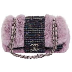 Chanel Glicine Lapin Fur & Tweed Single Flap Bag