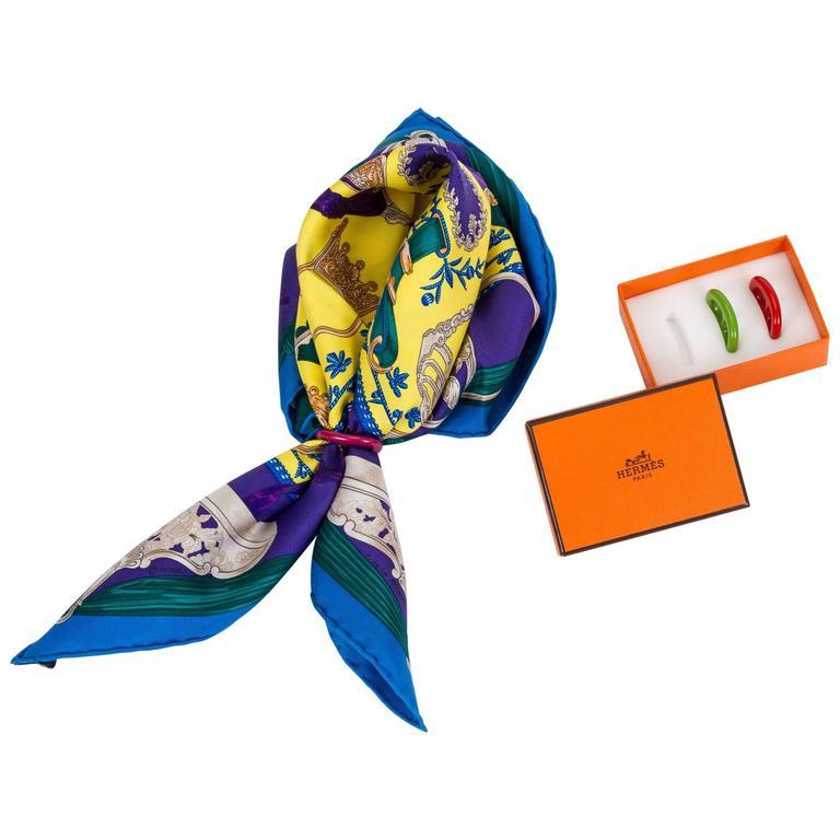 Hermes Set of 3 Colors Scarf Rings in Box