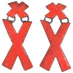 Steel, Enamel, Sterling Silver Earrings (X Marks, Red)