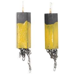 Steel, Enamel, Sterling Silver Earrings (Structure Dangle, Yellow)