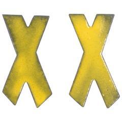 Steel, Enamel, Sterling Silver Earrings (X Marks Studs, Yellow)