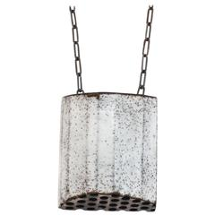 Steel, Enamel, Sterling Silver Pendant (Perforated, Med)