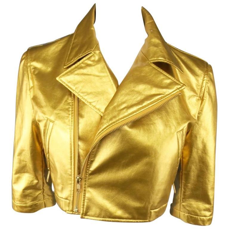 COMME des GARCONS Size M Metallic Gold Cropped Biker Jacket 2007 1