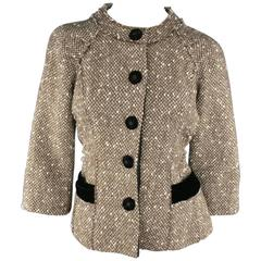 Marc Jacobs Light Brown and Cream Wool Tweed and Black Velvet Coat Jacket