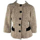 Marc Jacobs Light Brown and Cream Wool Tweed and Black Velvet Coat Jacket