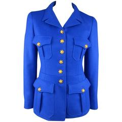 CHANEL F/W 1996 Size 6 Royal Blue Wool Gold Jeweled Button Military Jacket